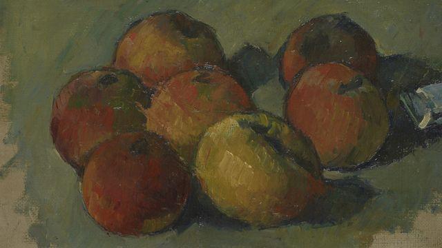 Paul Cézanne, Nature morte aux sept pommes et tube de couleur [© Musée cantonal des Beaux-Arts de Lausanne]