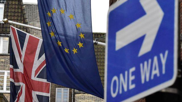 Les drapeaux du Royaume-Uni et de l'Union européenne au centre de Londres. [Toby Melville - Reuters]