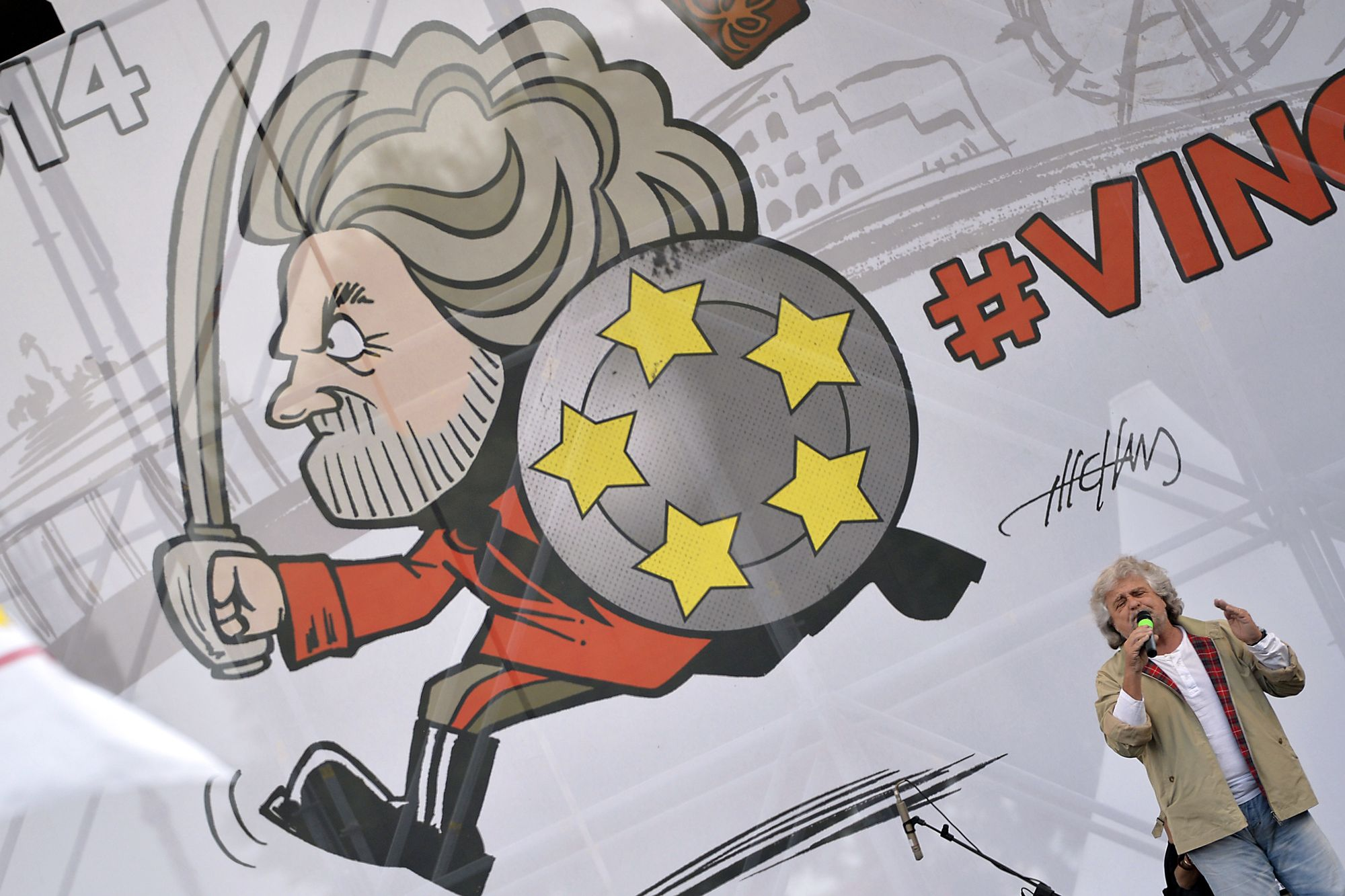 Le leader du M5S Beppe Grillo durant un meeting politique à Rome en 2014.