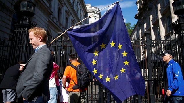 Un homme porte un drapeau européen devant Downing Street à Londres. [Neil Hall - Reuters]