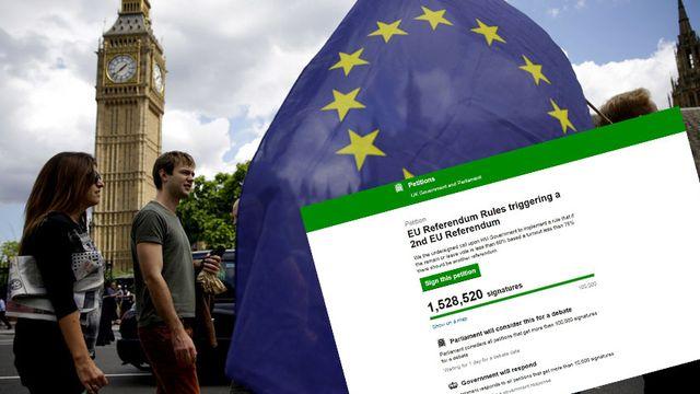 A 15h30 samedi, plus de 1,5 millions de signataires avaient déclaré leur volonté de reconduire le vote du Brexit.