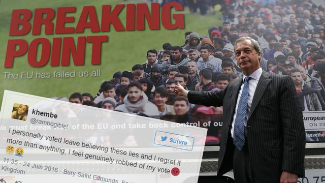 Le camp qui militait pour la sortie de l'UE, dont le UKIP mené par Nigel Farage, est accusé d'avoir menti durant la campagne notamment sur le thème de l'immigration.