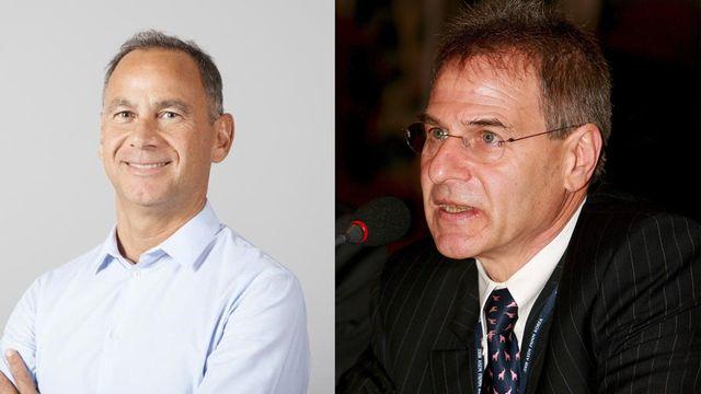 Frédéric Esposito et Charles Wyplosz. [UNIGE/Jeon Heon-Kyun - UNIGE/EPA]