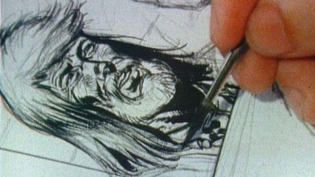 Derib dessinant le personnage de Buddy Longway en 1981 [Capture Ecran TVscopie 1981 - RTS]