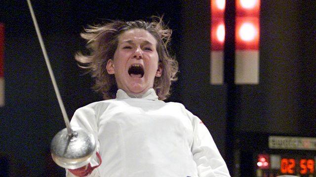L'escrimeuse Sophie Lamon aux Jeux olympiques de Sydney en 2000. [Fabrice Coffrini - Keystone]