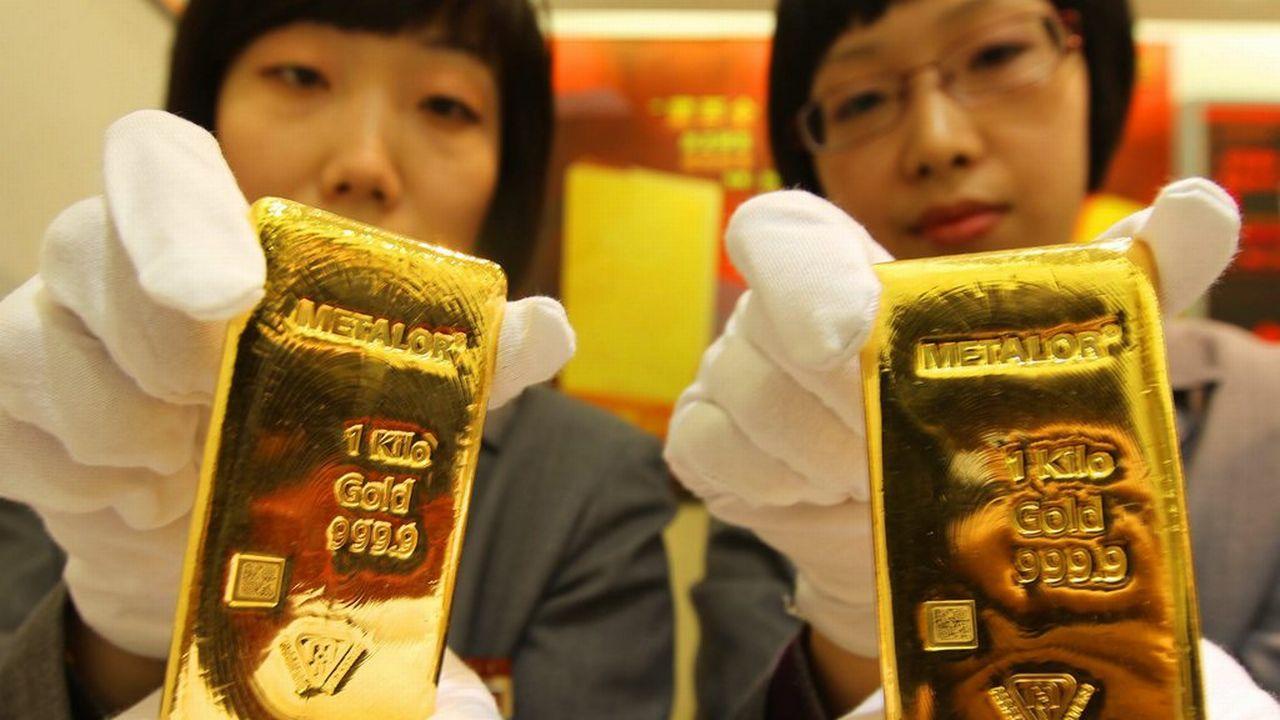 Des lingots d'or produits par la société neuchâteloise Metalor. [Lao Cai - EPA/Keystone]