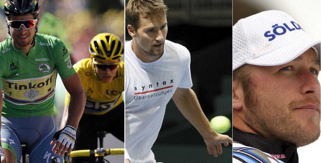 Le top-3 du 13 juillet: Peter Sagan et Chris Froome, Marco Chiudinelli et Bode Miller. [Y.Valat/S.Di Nolfi/M.Trovati - Keystone]