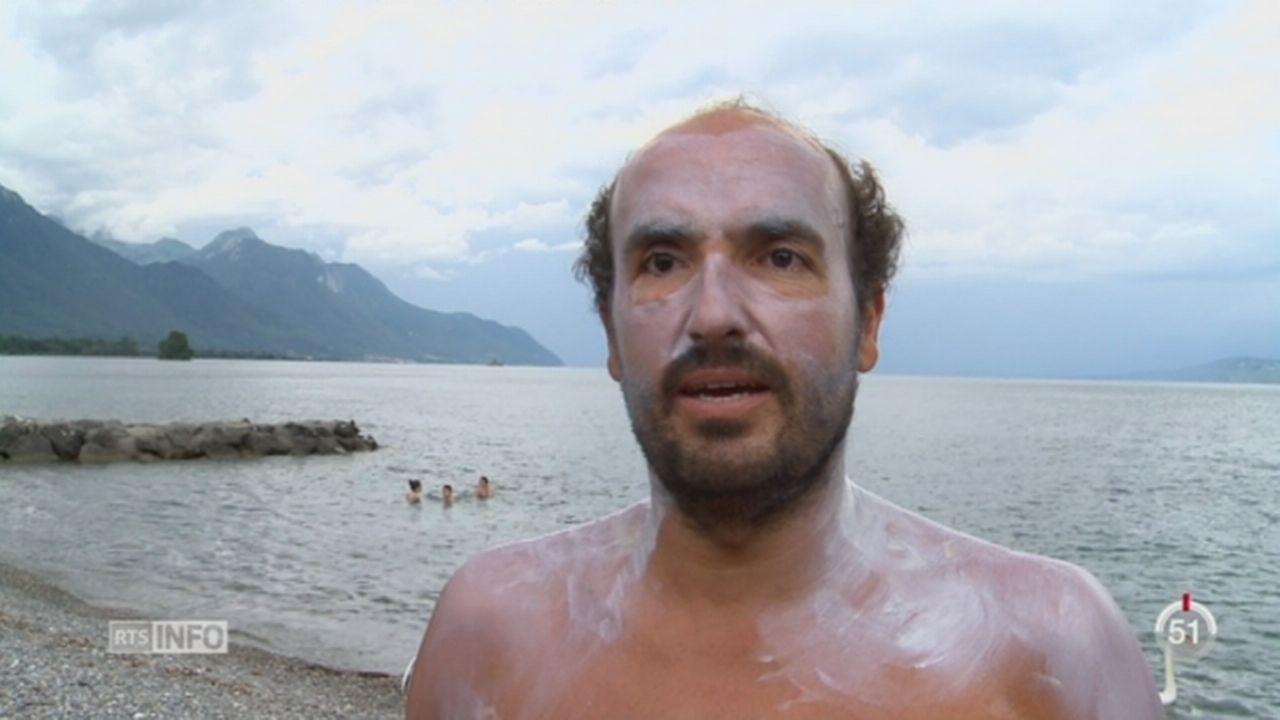Jaime Caballero va rejoindre les deux côtes du lac Léman à la nage [RTS]