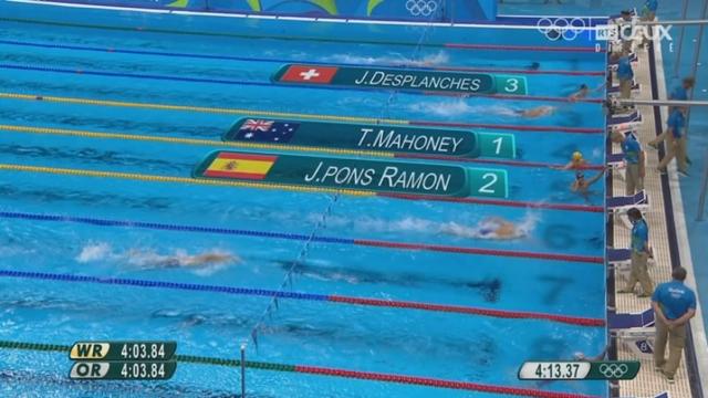 Natation: 400m 4 nages, Jérémy Desplanches explose son record de suisse ! [RTS]