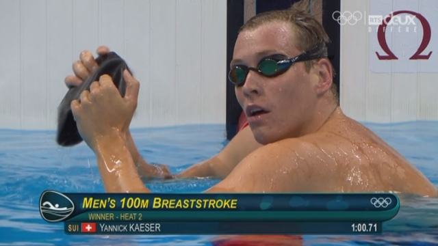 Natation: 100m brasse, Yannick Kaser se qualifie pour la suite [RTS]
