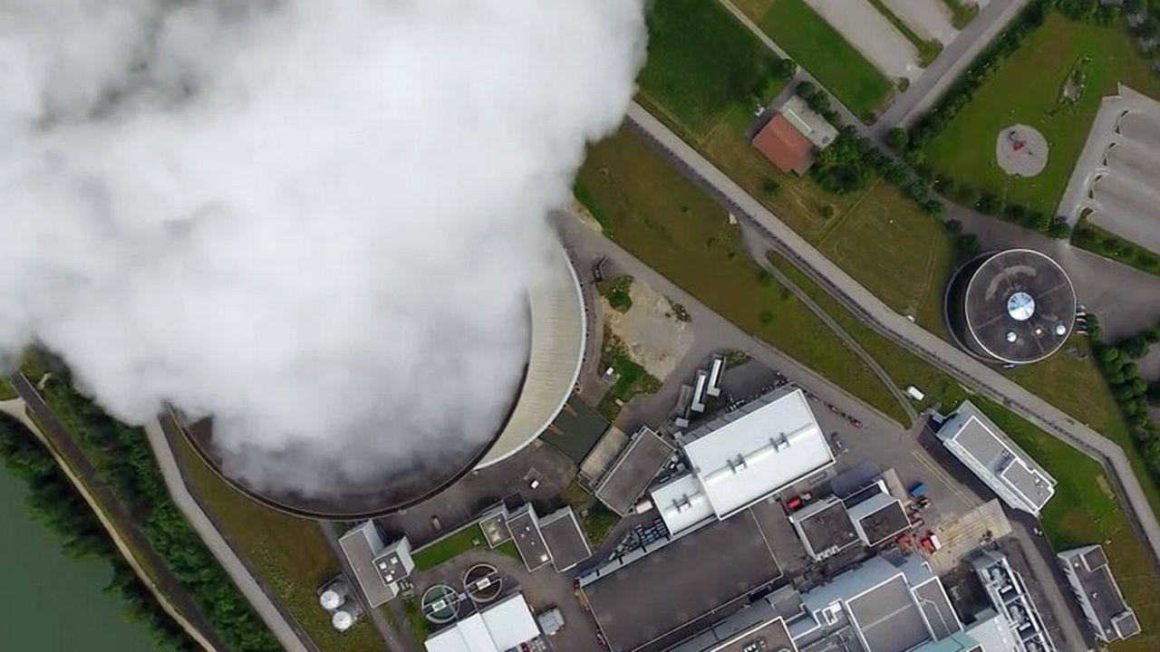 Image prise par le drone au-dessus de Leibstadt. [Jürg Knobel - YouTube]