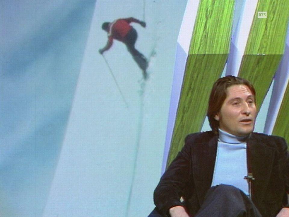 Le skieur de l'impossible Sylvain Saudan sur le plateau de Chronique Montagne en 1974. [RTS]