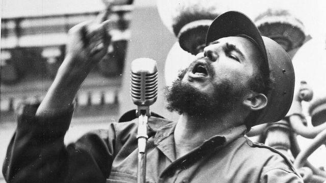 Discours de Fidel Castro lors de son entrée à la Havane le 6 février 1959. [AP  - Keystone]