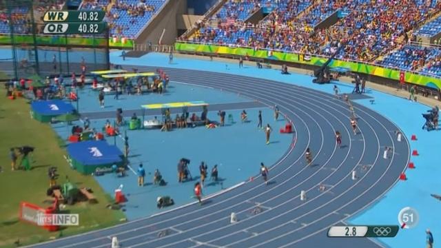 Rio 2016-Athlétisme: le quatuor helvétique de 4x100m est éliminé dès les séries [RTS]
