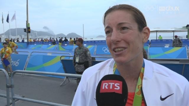Triathlon dames. Nicola Spirig à l'interview après sa médaille d'argen [RTS]