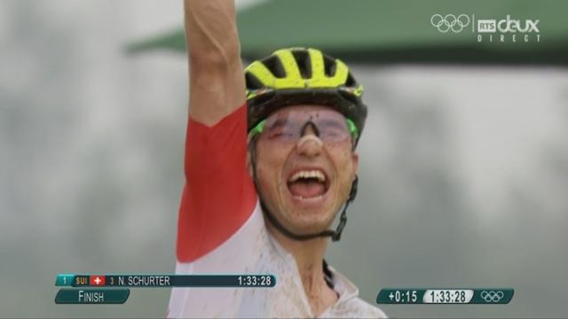 VTT messieurs. Nino Schurter (SUI) est champion olympique. 2e Kulhavy (TCH) à 50'', 3e Colomas (ESP) 1'23'', 4e Marotte (FRA) à 1'32'' [RTS]