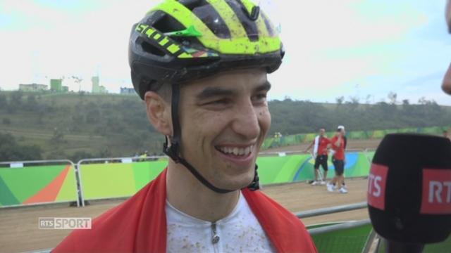 VTT messieurs. Nino Schurter (SUI) à l'heure de l'interview du champion olympique! [RTS]