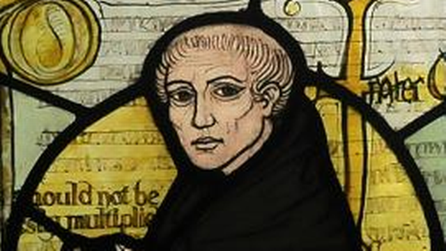 Représentation de Guillaume d'Ockham sur un vitrail. [CC BY SA]