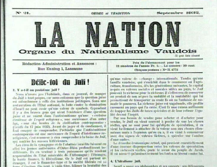 Article du journal La Nation, du groupe Ordre et Tradition fondé par Marcel Regamey, 1932.