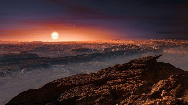 Vue d'artiste de la surface de Proxima b, tournant autour de la naine rouge Proxima Centauri, l'étoile la plus proche du système solaire. [European Southern Observatory - keystone]