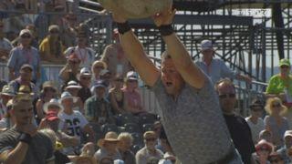 Finale, lancée de la pierre d'Unspunnen: 3.60 mètres pour Simon Hunziker [RTS]