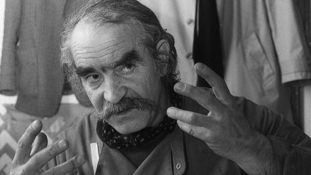 Jean Tinguely dans son studio à Genève le 24 mai 1983. [Keystone]
