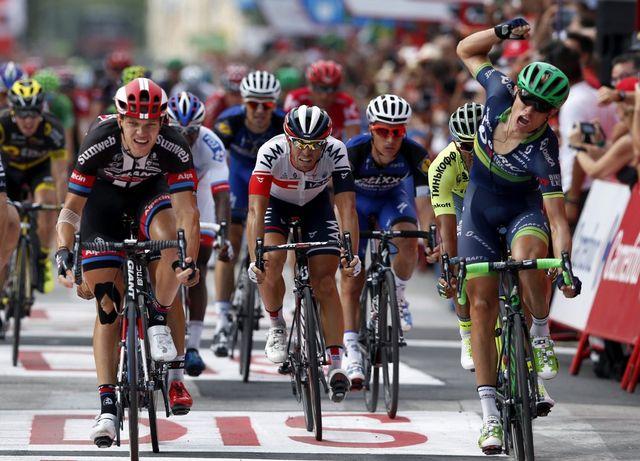 Magnus Cort Nielsen a devancé de quelques centimètres le coureur de Giant-Alpecin, Nikias Arndt. [Javier Lizon - Keystone]