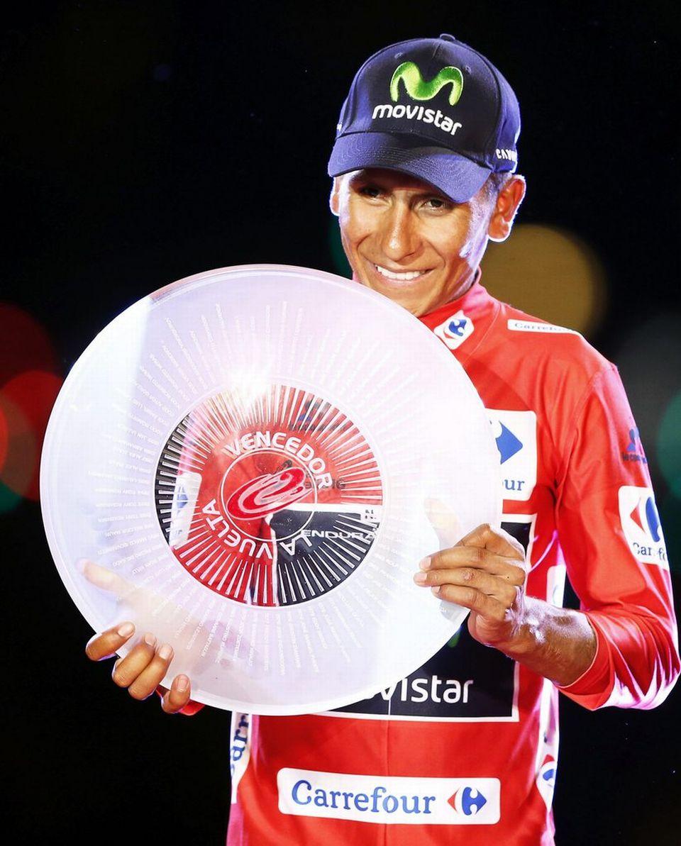 Quintana affiche une joie bien légitime sur le podium. [Javier Lizon - Keystone]