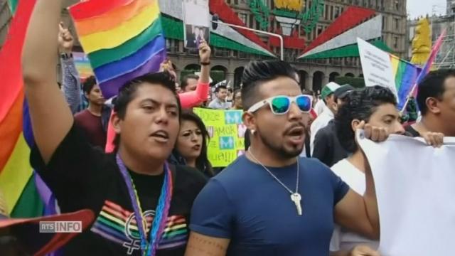 Manifestation de soutien au mariage gay à Mexico [RTS]