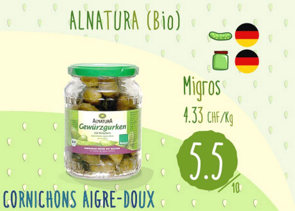 Cornichons aigre doux - Alnatura. [RTS]