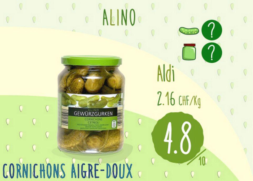 Cornichons aigre-doux - Alino. [RTS]