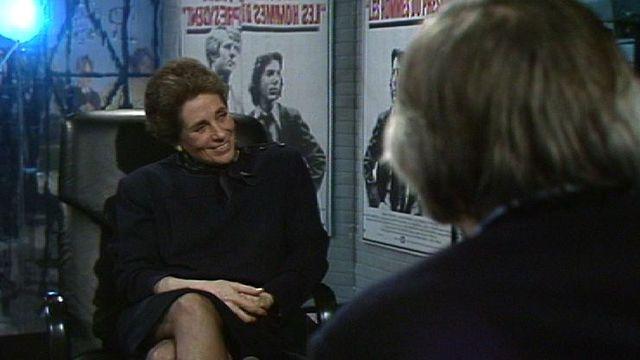 Françoise Giroud sur le plateau de Spécial cinéma en 1984. [RTS]