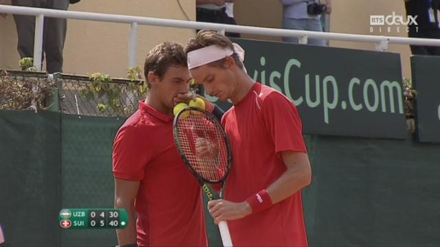 Barrage, Double. Ouzbékistan - Suisse (4-6): Le duo suisse remporte cette première manche [RTS]