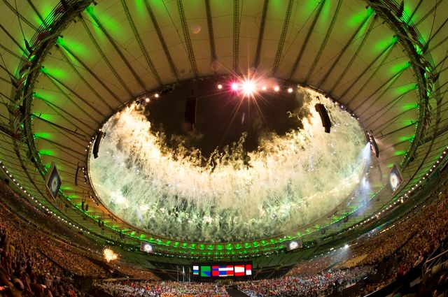 Bouquet final dimanche soir lors de la cérémonie de clôture des jeux paralympiques à Rio. [Szilard Koszticsak - Keystone]