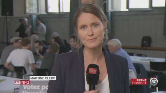 Votations - Initiative pour une économie verte: les observations de Martine Clerc dans le camp des Verts, à Berne [RTS]