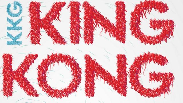 L'affiche de King Kong Girl, un spectacle de Martine Corbat et Yvan Rihs. [Graphisme: Elise Gaud de Buck - Toile brodée: Murielle Décaillet]