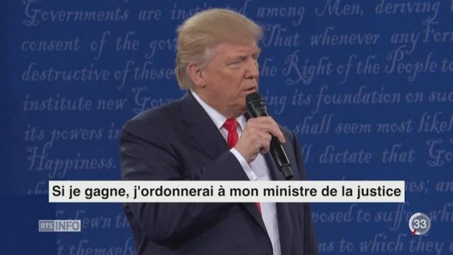 La tension est palpable entre Donald Trump et Hillary Clinton lors de leur second débat télévisé [RTS]