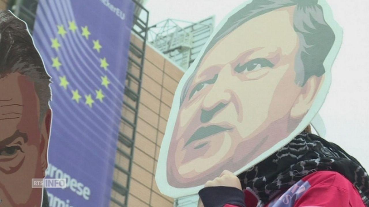 Démonstration à Bruxelles contre l'engagement de José Manuel Barroso chez Goldman Sachs [RTS]