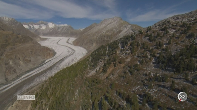 Le Glacier d'Aletsch illustre le changement climatique [RTS]