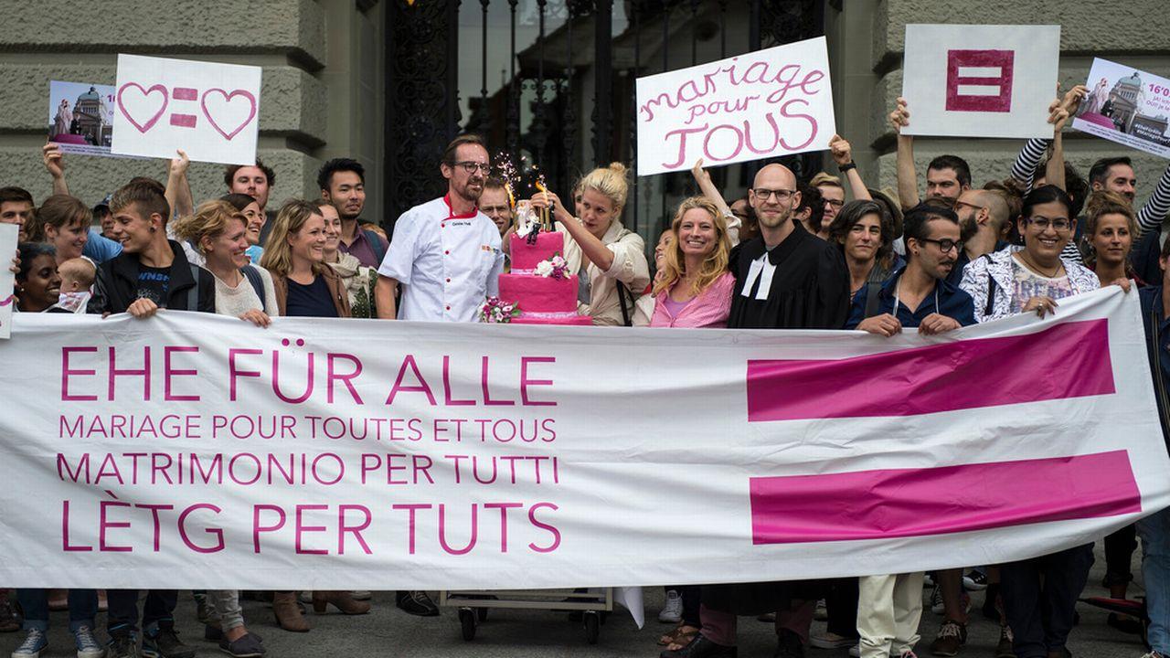 Une manifestation pour le mariage pour tous à Berne en septembre 2015. [Keystone]
