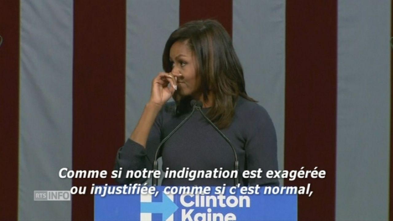 """Michelle Obama: """"Il s'agit d'un individu puissant qui parle librement et ouvertement d'un comportement de prédateur sexuel"""" [RTS]"""