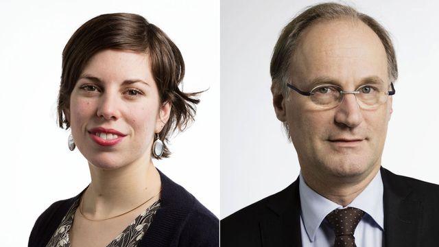 Lisa Mazzone et Yves Nidegger. [Gaëtan Bally - Keystone]