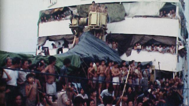 Les boat-people vietnamiens à bord du cargo Hai Hong en 1978. [RTS]