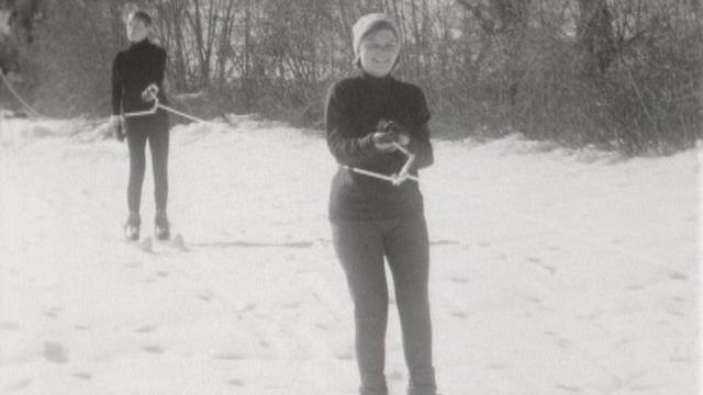Un skilift en Valais en 1966. [RTS]