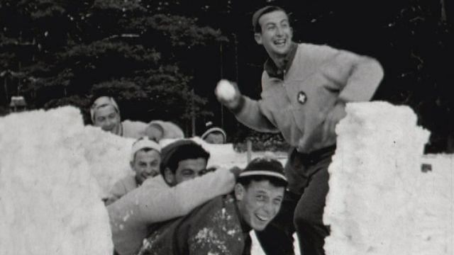 Camp d'entraînement pour l'équipe de ski suisse, Chalet-à-Gobet 1956. [RTS]