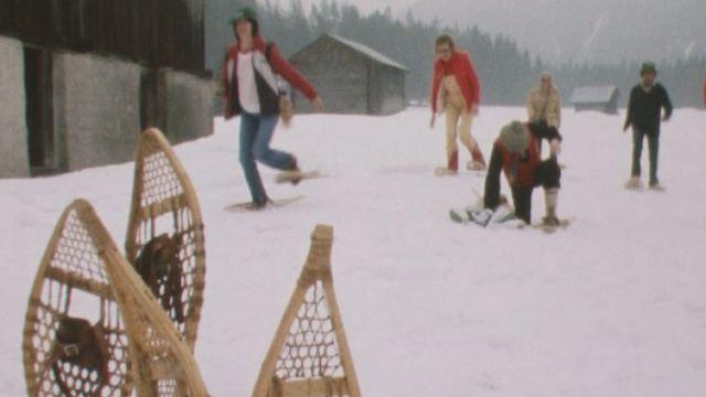 Première marche suisse de raquettes à neige, Diablerets 1981. [RTS]