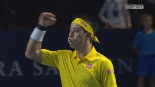 Bâle. 2e quart de finale. Juan Martin Del Potro (ARG) – Kei Nishikori (JPN) (5-7 4-6). Nishikori sert pour le gain du match et pour affronter Gilles Muller en demi-finales [RTS]