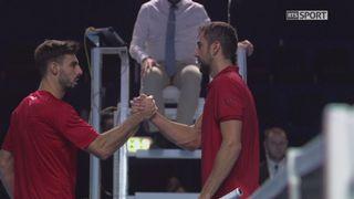 Bâle. 4e quart de finale. Marin Cilic (CRO) - Marcel Granollers (ESP) (6-3 6-3). C'est le croate qui affrontera l'Allemand Zverev, tombeur de Wawrinka, en demi-finales ce samedi [RTS]