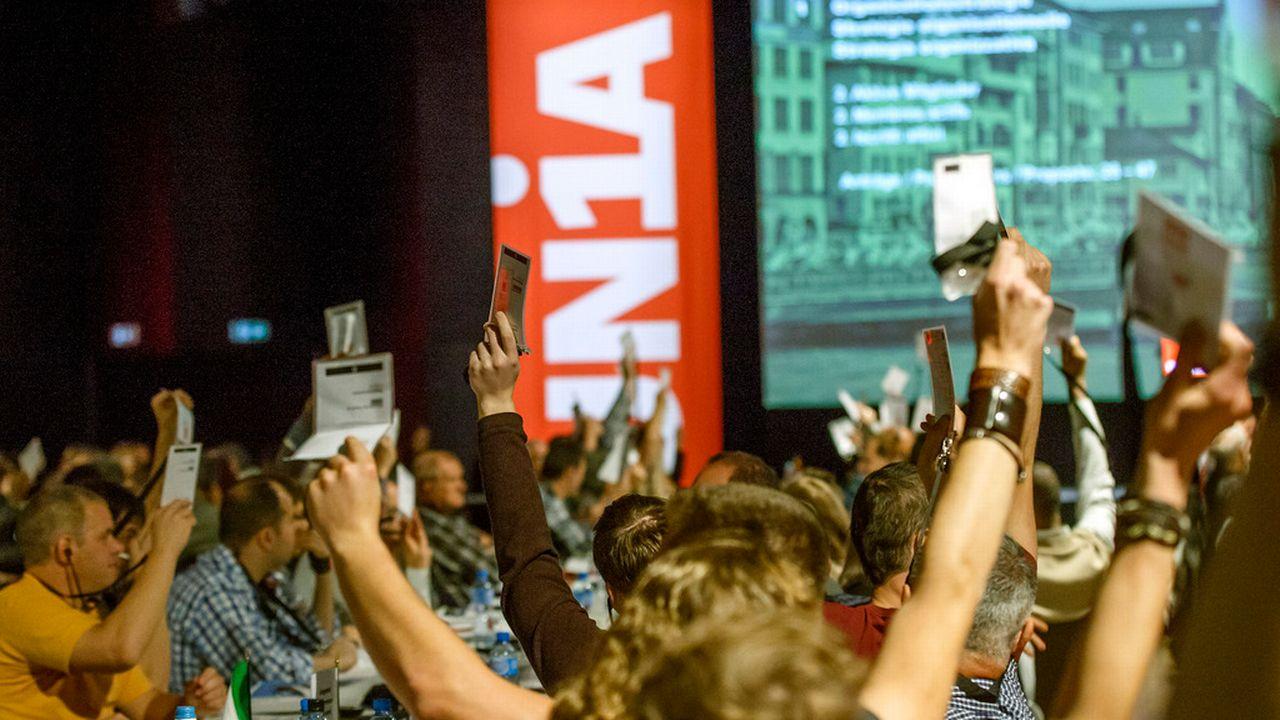 Quelque 350 délégués d'Unia sont réunis à Genève jusqu'à samedi. [Salvatore Di Nolfi - Keystone]