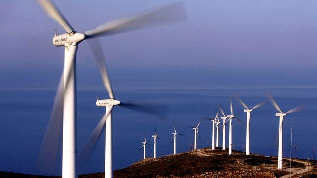 Parc d'éoliennes sur l'île grecque d'Eubée. [Aris Messinis - AFP]